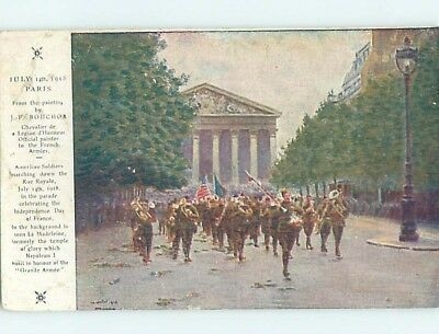 1918 Military Patriotic WWI USA SOLDIERS MARCH IN PARIS FRANCE hn6347