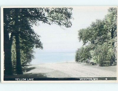 1951 rppc SHORELINE AT YELLOW LAKE Webster Wisconsin WI HM2542