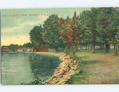 Unused Divided-Back PARK SCENE Oshkosh Wisconsin WI hk8834