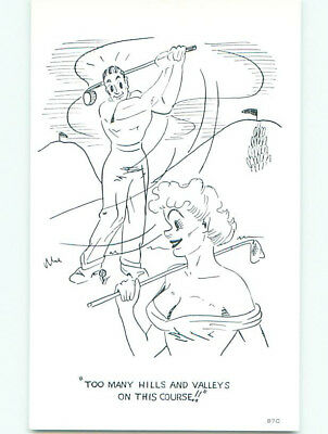 Unused 1960's risque SEXY GIRL WITH GOLF CLUB DISTRACTS GOLFERS k3885-37