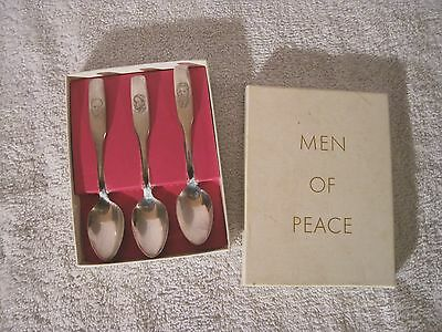 Men Of Peace Spoons - John F Kennedy - Sir Winston Churchill - Pope John Paul Ii