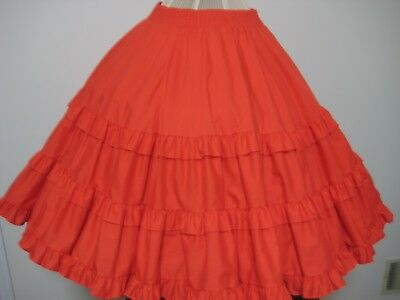 Malco Modes Square Dance Red Tiered Ruffled Western Skirt #137- Petite