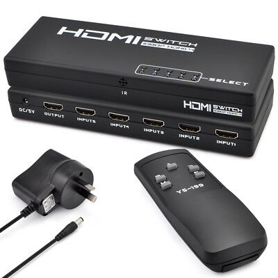 5 In 1 Out HDMI Switch Switcher Selector Splitter For HDTV PS3 + Remote AU Power