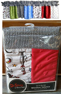 DR SUESS CAT IN THE HAT WINDOW VALANCE TRENDLAB-15x 82 VELOUR- GINGHAM CHECK-NEW