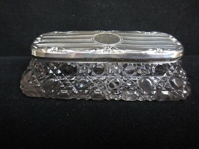 Edwardian Cut Glass with Silver Lid dressing table Box Chester 1917