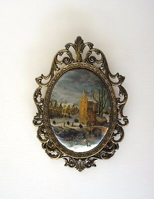 Vintage Italian Silk Picture Brass Winter Scene Church Bridge River Snow 17.5x12