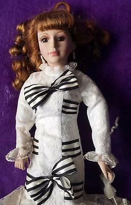 PRETTY HOMEART PORCELAIN DOLL - SANDY - SLIM BUILD, PARASOL in NICE HANDS
