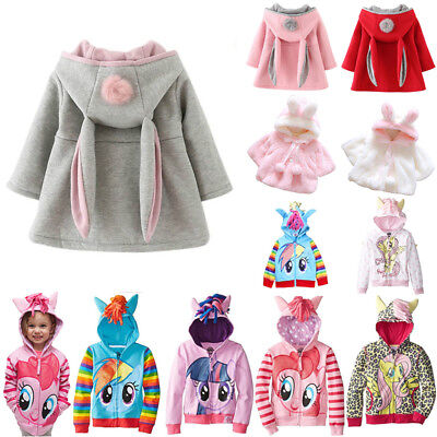 Kids Girl Hoodie My Little Pony Rabbit Ears Hooded Coat Jacket Outewar Clothes
