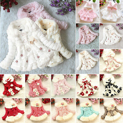Kids Girls Fur Warm Hooded Coat Baby Fleece Jacket Winter Outwear Thick Clothes