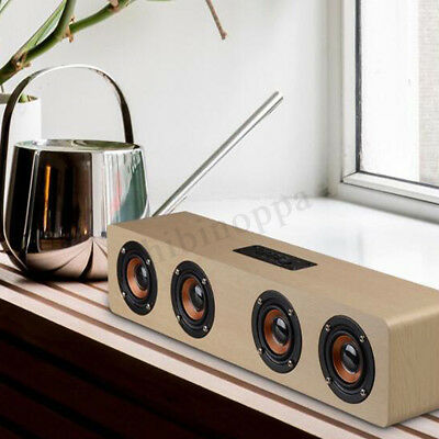 Wireless Bluetooth Speaker Hi-Fi 3D Loud Quad Wooden FM Stereo Radio Super Bass