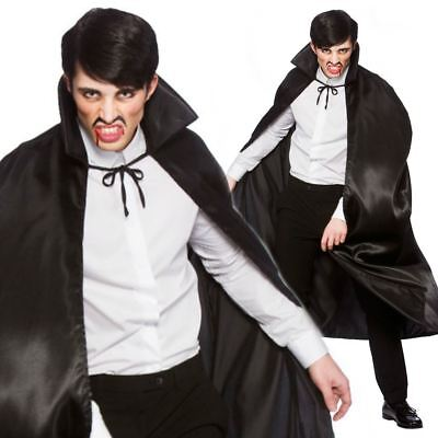 Deluxe Satin Black Cape Mens Vampire Scary Cape Robe Halloween Fancy Dress Cloak