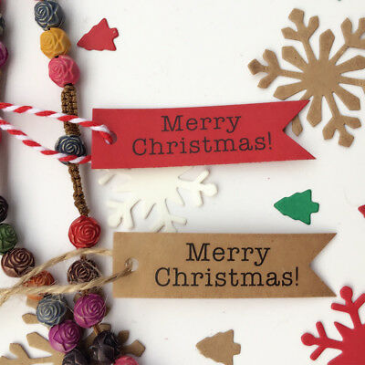 100pcs Merry Christmas Paper Gift Tags Label Hanging Cards DIY Home Party Decor