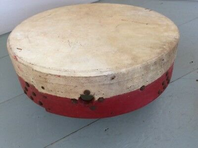 "vintage Bodhrán irish drum - 14"" DIA - Painted Red - Use Or Display"
