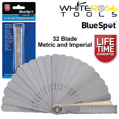 BlueSpot 32 Blade Leaf Feeler Gauge Metric Imperial Includes Brass Blade