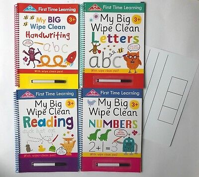 My Wipe and Clean Numeracy and Literacy Set Of 4 Spiral WorkBooks Kids Age 3+ yr