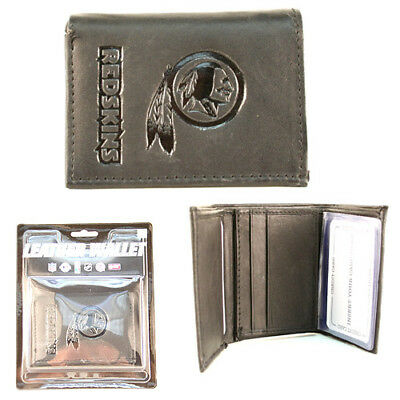Washington Redskins Black Leather Tri-fold Wallet