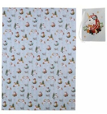 Unicorn Rainbow Gift Wrap Wrapping Paper Christmas Wrap 50 x 70cm 2SHEETS & TAGS