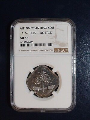 AH1402 - 1982 IRAQ FIVE HUNDRED FILS  NGC AU58 PALM TREES 500F Coin BUY IT NOW!