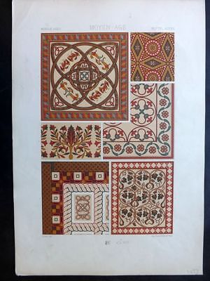 Racinet L'Ornament Polychrome 1873 Design Print. Middle Ages 47