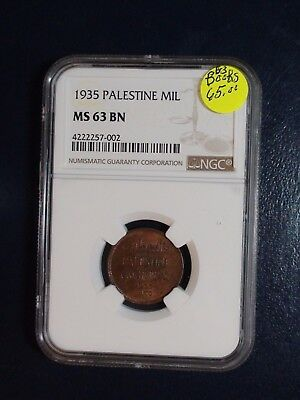 1935 PALESTINE ONE MIL NGC MS63 BN 1M Coin PRICED TO SELL NOW!