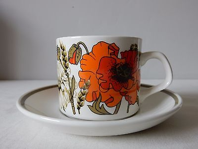 Lovely Vintage Cup and Saucer Poppy from J&G Meakin Studio 60s/70s Excellent
