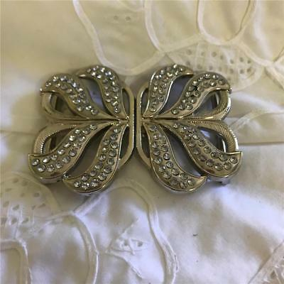 Beautiful Vintage Silver Belt Buckle With Clear Gems  x 1