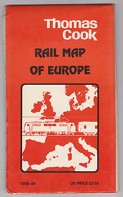 Vintage Thomas Cook Rail Map of Europe Train Travel 1989 1990