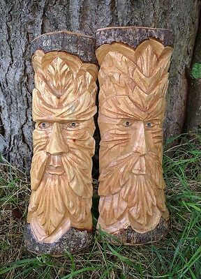 Green man of the woods hand carved tree trunk wood plaque 30cm fair trade C