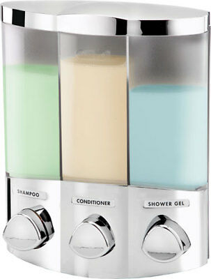 Trio 3-Fach Seifenspender Chrom Soap Dispenser Wandmontage