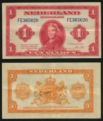 Netherlands Banknote February 4, 1943 Issue One Gulden Currency Queen Wilhelmina