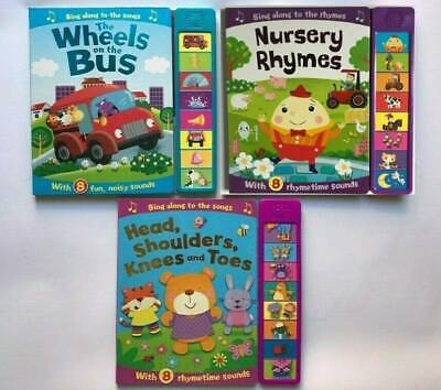 Wheels On The Bus Head Shoulder Knees Nursury Rhyme Set Of 3 Sound Books 0Month+