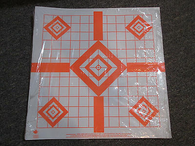 Sighting-in Rifle Targets Fluo Orange on White paper Pack of 100 Type 2