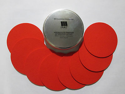 VFG Set of 8 Coasters in VFG metal Can RED