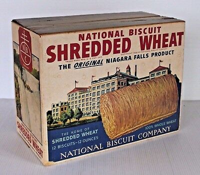LARGE CARTON Vtg 1940s Nabisco SHREDDED WHEAT Box NATIONAL BISCUIT COMPANY