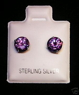 6mm Amethyst February Birthstone Silver Stud Earrings