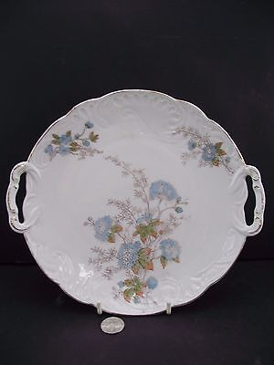 White And Blue Floral Gold Trim 9 3/4'' Serving Plate With Handles