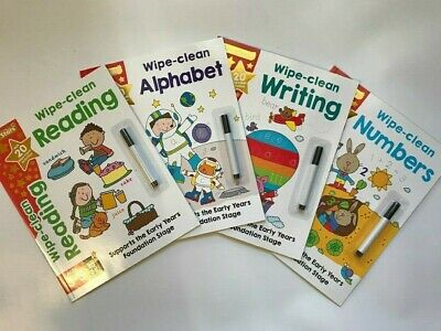 Set of 4 Goldstars Wipe-Clean Alphabet, Writing, Reading & Numbers Ages 3-5 New