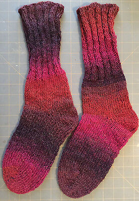 Socks Rust & Purple Colorway 87% Acrylic & 13% Wool Hand Knit Reclaimed Yarn