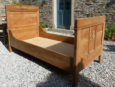 Victorian Solid Pine Single Sleigh Bed Antique