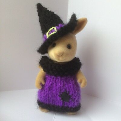 New Sylvanian families handmade knitted Halloween Dress & Hat with Spider sequin