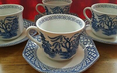 4 Cups and Saucers.~ J&G Meakin ~Liberty. Blue and White ~ Afternoon Tea
