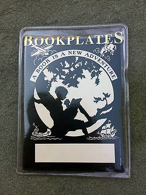 "Boy In A Tree Bookplate Ex Libris ""A Book Is A New Adventure"" NWT 12ct B & W"