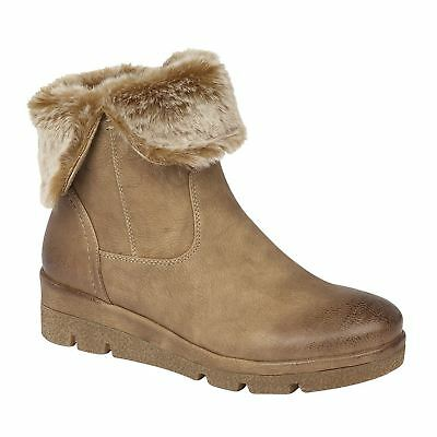 Ladies Womens Ankle Boots Inside Zip Low Wedge Fur Collar Shoes Size