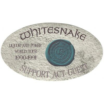 Whitesnake authentic 1990 Liquor and Poker Tour satin Backstage Pass guest blue