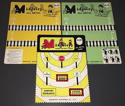Vintage Midgetoy Unused Dicast Train Playset Hang Cards - Midgetoy Archives -Mt.