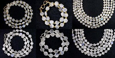 N-0073 White Rainbow Moonstone Gemstone Coin Plain Beads 6mm Necklace / Bracelet