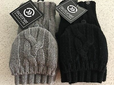 Women's Isotoner Chunky Solid Flip Top Mittens/Gloves, Black/Gray One Size