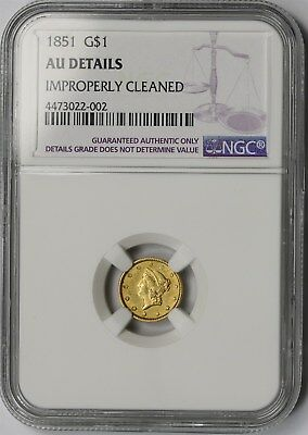1851 G$1 NGC AU Details (Improperly Cleaned) Liberty Head Gold Dollar