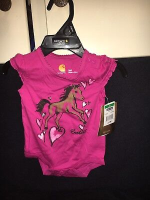 0cedff2a4 New Carhartt Pink Horse Baby Girl's 3 Months Bodysuit Pony 0-3 One Piece  Outfit