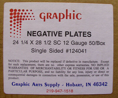 "OFFSET NEGATIVE PLATES 24 1/4"" x 28 1/2"" X .012"" BOX OF 50 PLATES (AGFA) - NEW"